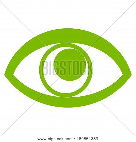 Eco Green Eye interface toolbar icon. Vector pictogram style is a flat symbol on diagonal hatch transparent background.
