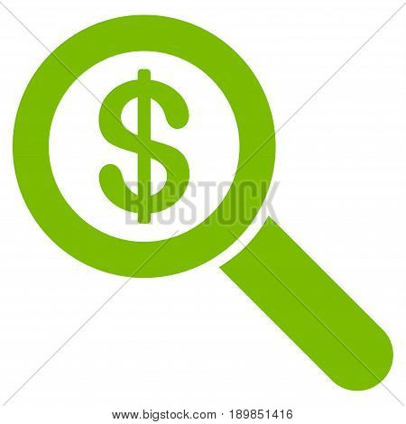 Eco Green Financial Audit Loupe interface pictogram. Vector pictogram style is a flat symbol on diagonal hatch transparent background.
