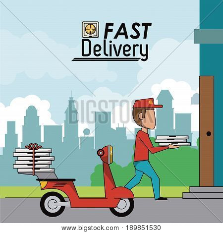 poster scene city landscape of man in red scooter delivering pizza to home vector illustration