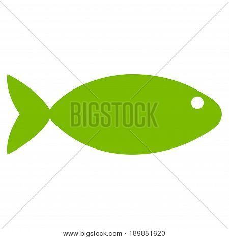 Eco Green Fish toolbar icon. Vector pictogram style is a flat symbol on diagonal hatch transparent background.