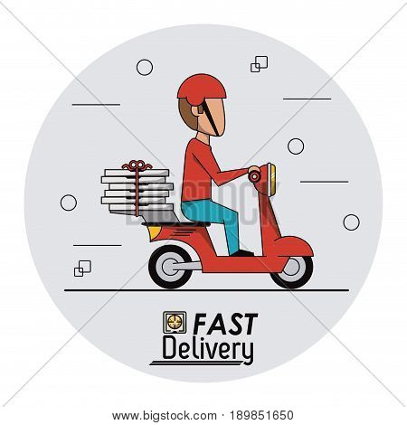 circular frame background with fast pizza delivery man in red scooter vector illustration