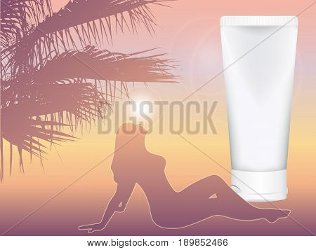 realistic vector cosmetic tube for cream amid the southern dusk. sunset. girl sunbathing in the rays of the sun. mock up