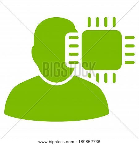 Eco Green Neuro Interface interface icon. Vector pictogram style is a flat symbol on diagonal hatch transparent background.