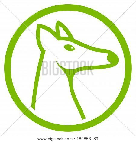 Eco Green Rounded Fox Head interface toolbar icon. Vector pictograph style is a flat symbol on diagonal hatch transparent background.