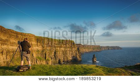 Birds Eye Views From The Cliffs Of Moher In County Clare Ireland. Ireland's Number 1 Tourist Attract