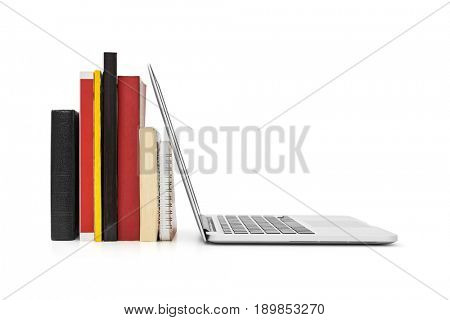 E-learning concept, Books and laptop