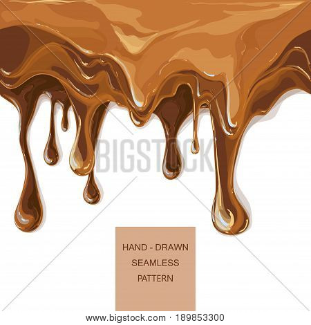 melted chocolate streams. Syrup drip pattern on cake layers background. Flowing caramel vector illustration isolated