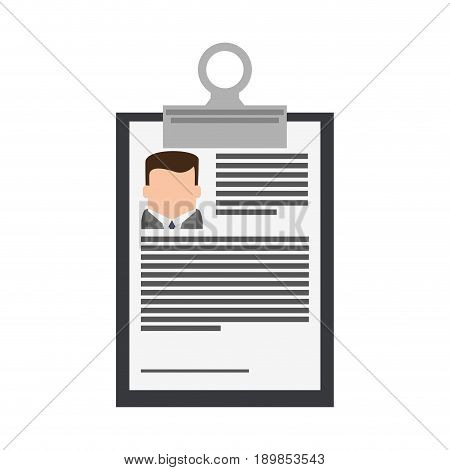 resume or curriculum vitae cv icon image on clipboard vector illustration design
