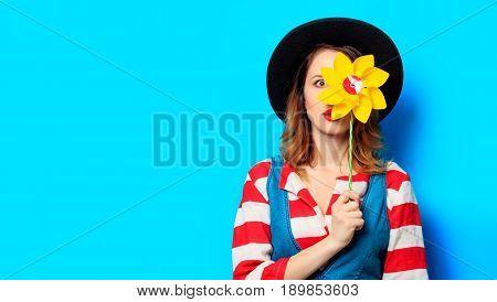 Surprised Woman With Pinwheel