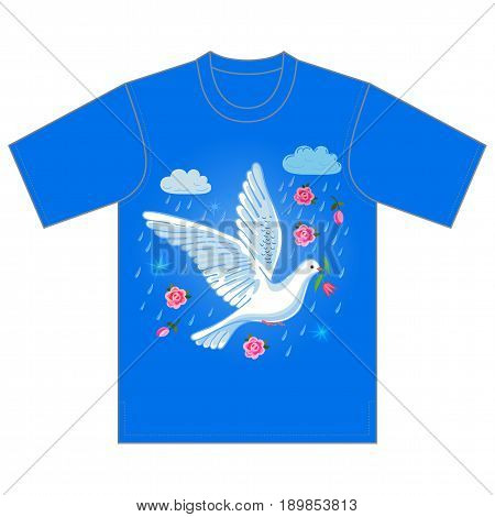 Soaring dove with flower in the clouds tshirt design. Vector illustration isolated on white background