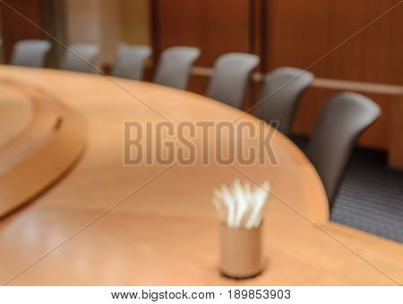 Blurred image of empty boardroom background. Business concept