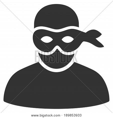 Gray Anonimious Thief toolbar pictogram. Vector pictograph style is a flat symbol on diagonal hatch transparent background.