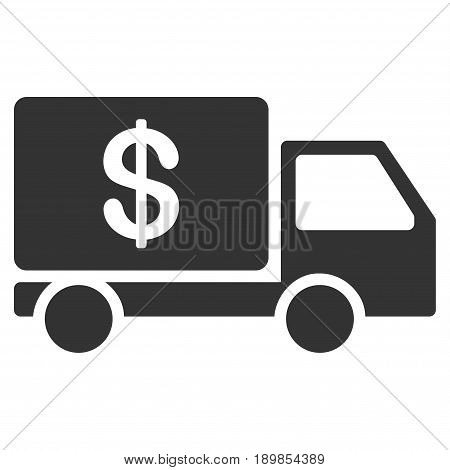 Gray Cash Delivery toolbar pictogram. Vector pictogram style is a flat symbol on diagonal hatch transparent background.