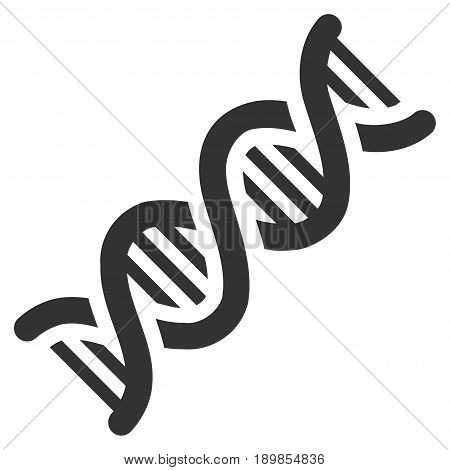 Gray DNA Spiral toolbar pictogram. Vector pictograph style is a flat symbol on diagonal hatch transparent background.
