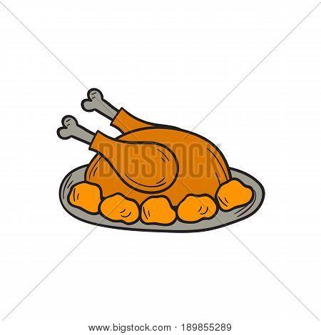 Vector Cartoon Hand Drawn Cooked Turkey Bird