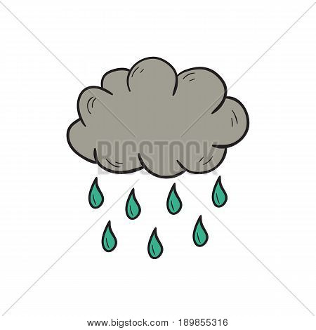 Vector Cartoon Hand Drawn Rain Cloud