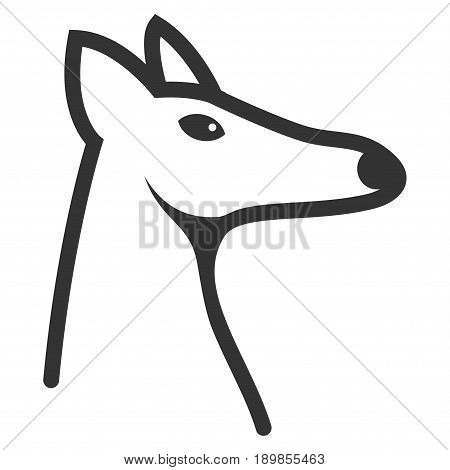Gray Fox Head toolbar pictogram. Vector pictogram style is a flat symbol on diagonal hatch transparent background.