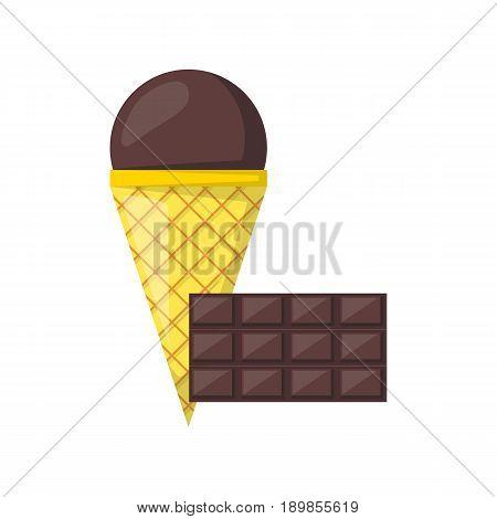 Vector Cartoon Chocolate Ice Cream Balls