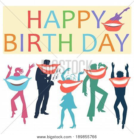 Postcard with smiling artists wishing happy birthday isolated on white background. Vector illustration
