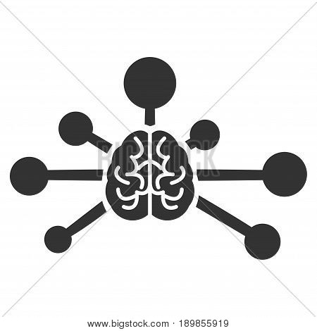 Gray Mind Control Links interface icon. Vector pictograph style is a flat symbol on diagonal hatch transparent background.