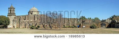A pano of Mission San Jose in San Antonio Texas