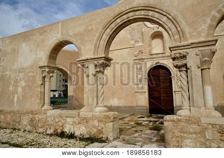 Syracuse, Sicily, church of Saint John (San Giovanni), Italian tourist destination. Catacombs entrance