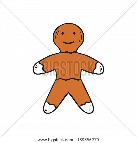 Vector Cartoon Hand Drawn Christmas Gingerbread Man