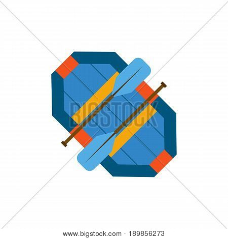Vector cartoon illustration with flat isolated rafting rubber inflatable boat and paddles. Vector rafting icon background. Water extreme sport equipment. Outdoor activity hobby icon. Rafting boat