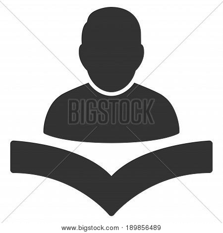 Gray Reader Boy toolbar pictogram. Vector pictogram style is a flat symbol on diagonal hatch transparent background.