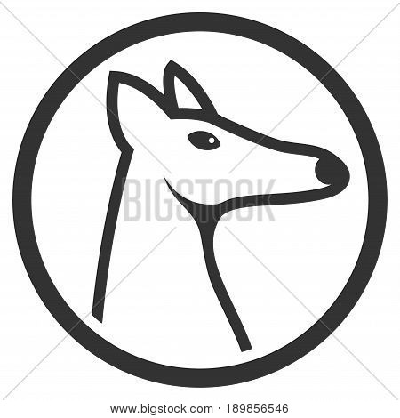 Gray Rounded Fox Head interface toolbar icon. Vector pictograph style is a flat symbol on diagonal hatch transparent background.