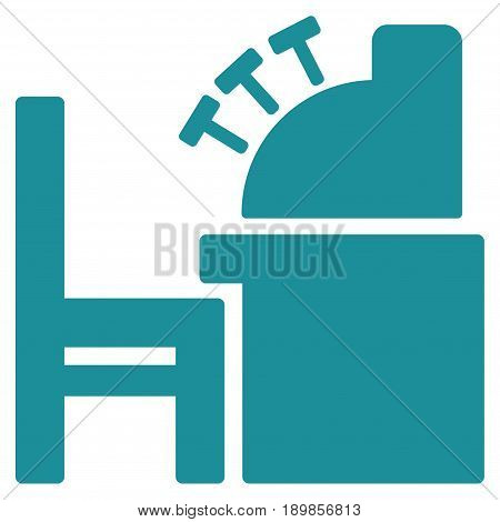 Soft Blue Accounting Office toolbar icon. Vector pictogram style is a flat symbol on diagonal hatch transparent background.