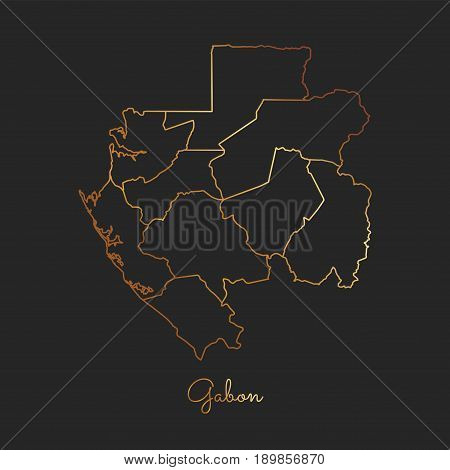 Gabon Region Map: Golden Gradient Outline On Dark Background. Detailed Map Of Gabon Regions. Vector