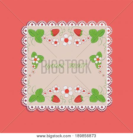 Lace doily with flowers and strawberries. Red and pink background with place for text, Decorative composition for the packaging of strawberries, farmer's market.