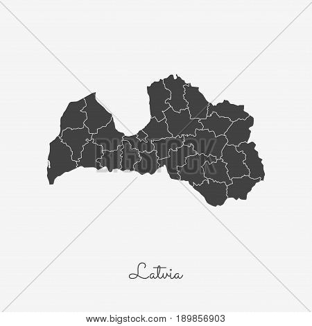Latvia Region Map: Grey Outline On White Background. Detailed Map Of Latvia Regions. Vector Illustra