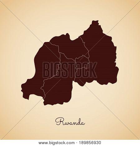 Rwanda Region Map: Retro Style Brown Outline On Old Paper Background. Detailed Map Of Rwanda Regions