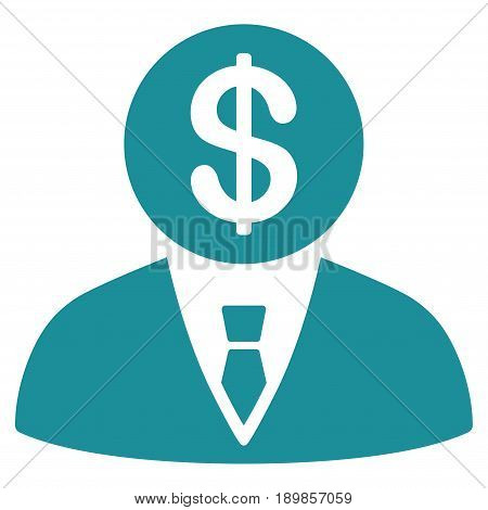 Soft Blue Banker toolbar icon. Vector pictogram style is a flat symbol on diagonal hatch transparent background.