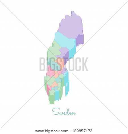 Sweden Region Map: Colorful Isometric Top View. Detailed Map Of Sweden Regions. Vector Illustration.