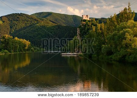 Medieval castle Strecno on Vah river with raft near of town Zilina central Europe Slovakia