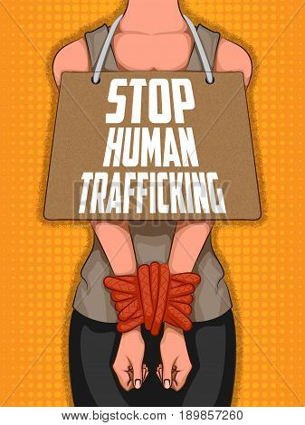 Social Awarness concept poster for Stop Human Trafficking. Vector illustration