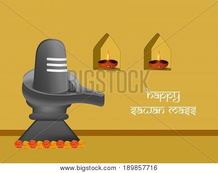 illustration of hinduism symbol shivling used for worship in Hindu temples with happy sawan mass text on hindu sawan festival