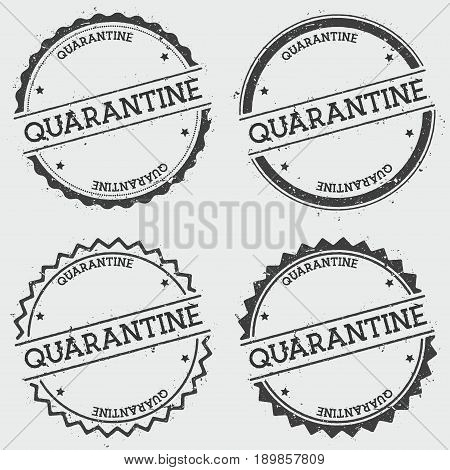 Quarantine Insignia Stamp Isolated On White Background. Grunge Round Hipster Seal With Text, Ink Tex