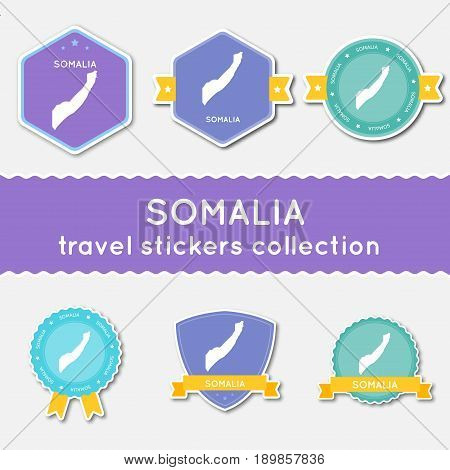 Somalia Travel Stickers Collection. Big Set Of Stickers With Country Map And Name. Flat Material Sty