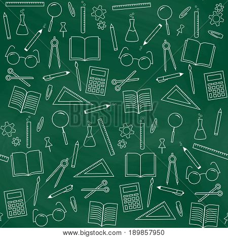 Seamless school background. Green chalkboard. School supplies. Back to school. Education and school concept. Vector illustration
