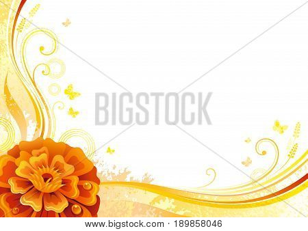 Autumn background with marigold flower, falling leaves, butterflies, abstract wave lines, swirls, grunge pattern, copy space for text. Elegant modern seasonal vector illustration.