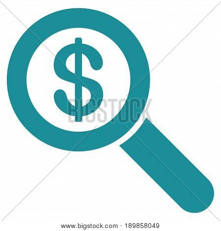 Soft Blue Financial Audit Loupe toolbar pictogram. Vector pictograph style is a flat symbol on diagonal hatch transparent background.