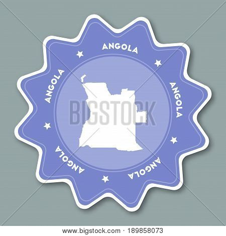 Angola Map Sticker In Trendy Colors. Star Shaped Travel Sticker With Country Name And Map. Can Be Us