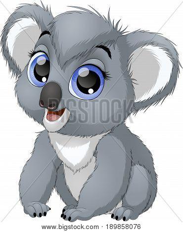 Vector illustration, funny baby bear koala, on a white background