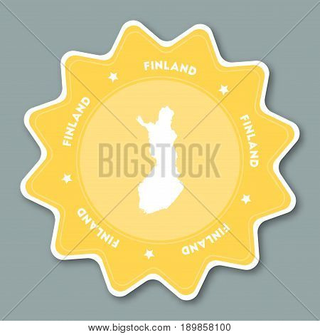 Finland Map Sticker In Trendy Colors. Star Shaped Travel Sticker With Country Name And Map. Can Be U