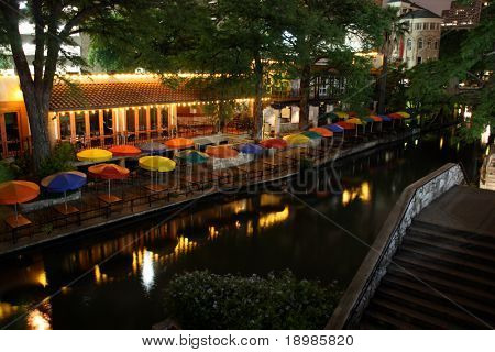 The riverwalk at night in San Antonio Texas.