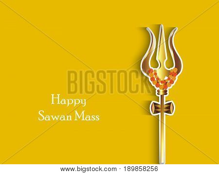 illustration of hindu god Shiv short-handled weapon Trishul with happy sawan mass text